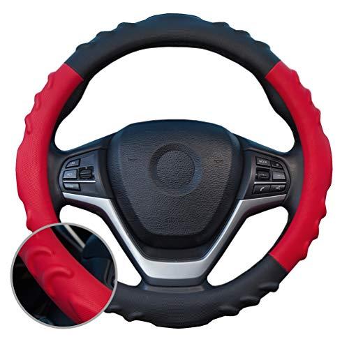 ZATOOTO ハンドルカバー 軽自動車 立体デザイン スポーティー グリップ感よし 滑らない PUレザー Sサイズ レッド YWLY145-R