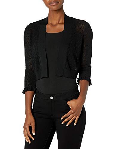 Calvin Klein Women's Open Knit Shrug with Ruffle Cuff, Black, L