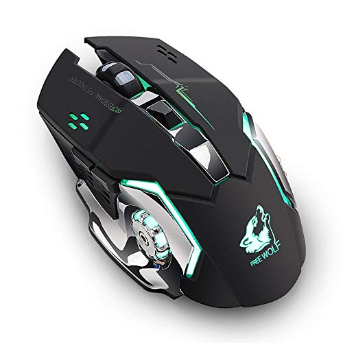 USB-Maus (kabellos, kabellos, mit Hintergrundbeleuchtung, ergonomisch, wiederaufladbar) schwarz schwarz Free Wolf X8