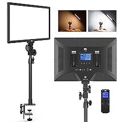 LED ビデオライトPixel P50 デスクマウント 二色撮影照明ライトセット ワイヤレスライトリモコン付き 45ワット 3000K-8000K 3800Lux 調光可能 Cクランプスタンド 写真フィルライト パネルライト 動画