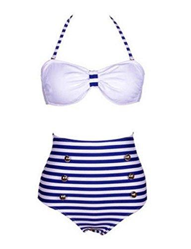 Bestgift Femme Point Taille Haute Maillot de Bain Blanc Bras+ Bleu et Blanc Rayure Feese M