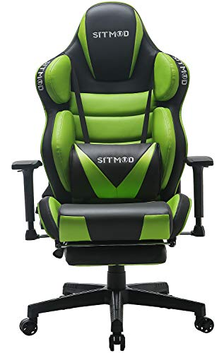 SITMOD Silla Gaming Sillas Gamer Ergonomica Silla 200kg Reclinable, Silla de Escritorio Gaming Sillas XL Ordenador Sillon Racing Esport Silla Bordado Luminoso con Reposapies-Verde