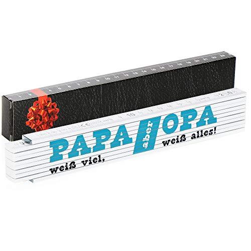 Robin Goods® Meterstab - 2 Meter Zollstock Geschenk mit der Aufschrift 'Papa weiß viel - aber Opa weiß alles!' - Geschenk zum Vatertag Weihnachten Geburtstag (weiß - Papa weiß viel - Opa weiß alles)