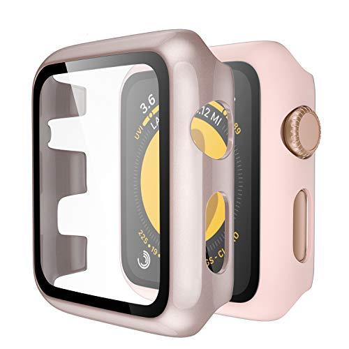 Upeak Kompatibel mit Apple Watch Series 3 Hülle mit Panzerglas 38mm, 2 Stücke Hart PC Schutzhülle Hülle Compatible with iWatch Series 3, Glänzend Roségold/Matt Rosa