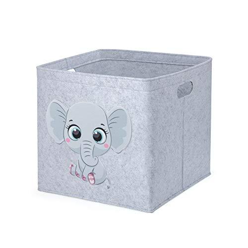 Aufbewahrungsbox Kinder Spielzeugkiste Filzkorb für Kinderzimmer, 33 x 33 x 33 cm, Ordnungsbox mit Tiermuster, Kallax Boxen für Spielzeugaufbewahrung (Elefant)