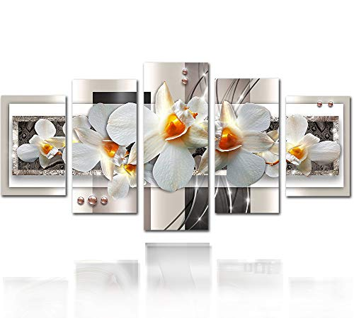 Canvas Wall Art Prints 5 Panels White Flower Abstract Painting Decorations for Living Room Bedroom Diamond Crystal Floral Artwork Framed Easy Hanging. (60''WX30''H)