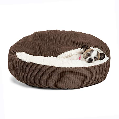 Best Friends by Sheri Cozy Cuddler Luxury Orthopedic Dog and Cat Bed with Hooded Blanket for Warmth and Security - Machine Washable, Water/Dirt Resistant Base - Standard Chocolate