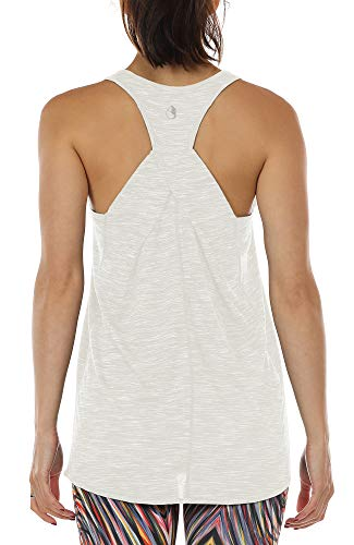 icyzone Damen Yoga Fitness Tank Top Lang - Training Jogging Ärmelloses Shirt Sport Oberteil Tops (M, Off White)