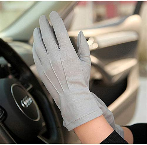 Summer Sun Protection Gloves Male Thin Breathable Anti-Slip Driving Gloves Anti-UV Full Fingers Man Mittens SZ105W1 - (Color: Gray, Gloves Size: XL)