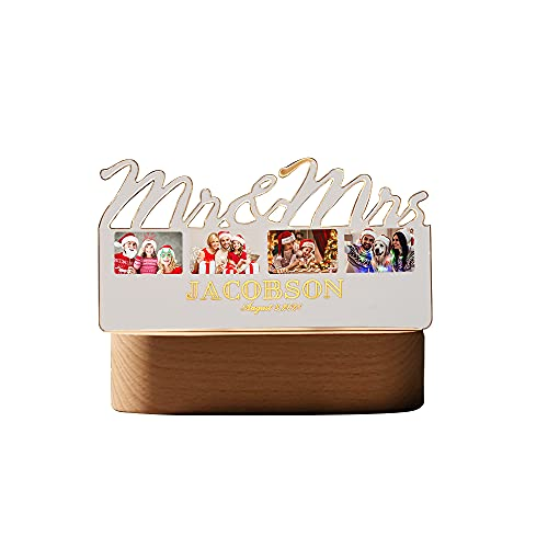 Foto y texto personalizados Luz nocturna 3D Base de madera Impresión personalizada USB Luces decorativas de interior Regalo(Acrylic,15.5cm×8cm)