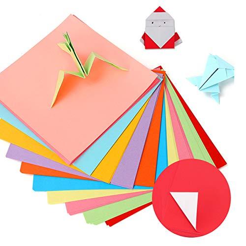 Zuzer Faltpapier Kinder,300 Blatt Origami Papier Bunt Origami-Papier Origami Bastelpapier Buntes Papier zum Basteln,10x10cm/15x15cm/20x20cm(Eine Seite ist farbig und die andere Seite ist weiß)