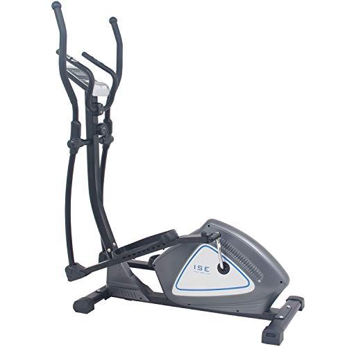ISE Vélo elliptique magnétique Vélo d'appartement ergomètre Crosstrainer - Masse d'inertie 12kg - 8 Niveaux de Résistance (Dark Gray) SY-9609