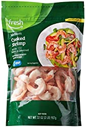 Fresh Brand – Cooked Medium Peeled & Deveined Tail On Shrimp Value Pack (41-50 Count/Pound), 2 lb (F