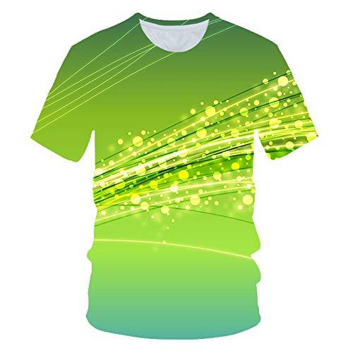 ZHOUBIANREN mannen en vrouwen, gedrukte digitale zomergroene folie 3D nieuwigheid Quick Dry Casual Sport Fitness ronde hals T-shirts T-shirts T-shirts