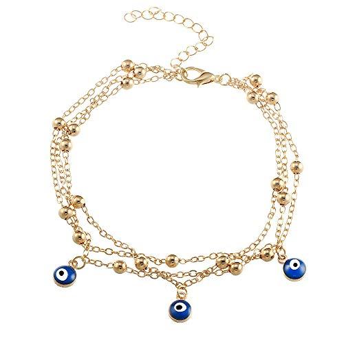Europäische und amerikanische Vintage türkische Blue Eye Anhänger Pearl Chain Beach Damen Fußkettchen @ C11-02-05 Gold