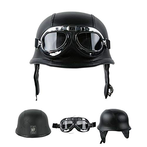 XFMT DOT German Style Motorcycle Half Helmet Open Face Crusier Leather Cap Helmet with Pilot Goggles M
