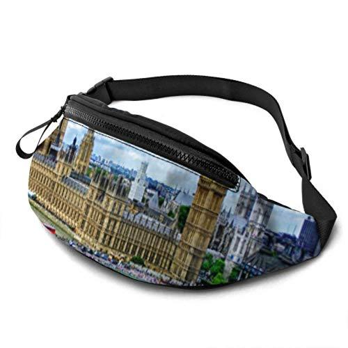 JOCHUAN Fit Zip Waist Pack Big Ben London Palace of Westminster Bridge River Riñonera para niñas con Auriculares y Correas Ajustables Hombres Riñonera para Viajes Deportes Senderismo