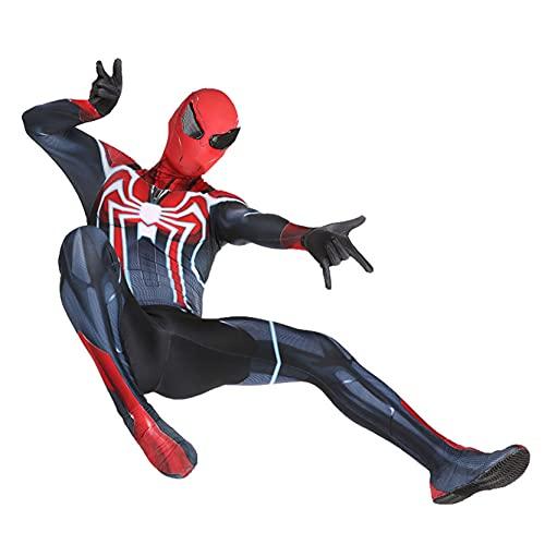 Xyh723 PS4 Spider-Man Disfraces Niños Halloween Navidad Medias Cosplay Mono Adulto Superhéroe Onesies Niño Traje De Mascarada Niños Traje De Impresión 3D,Black-Kids/S(115~125CM)