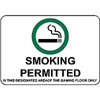 ゲーミングフロアの指定エリアで許可されている素晴らしいブリキの看板アルミニウム喫煙屋外および屋内看板壁の装飾12x8インチ