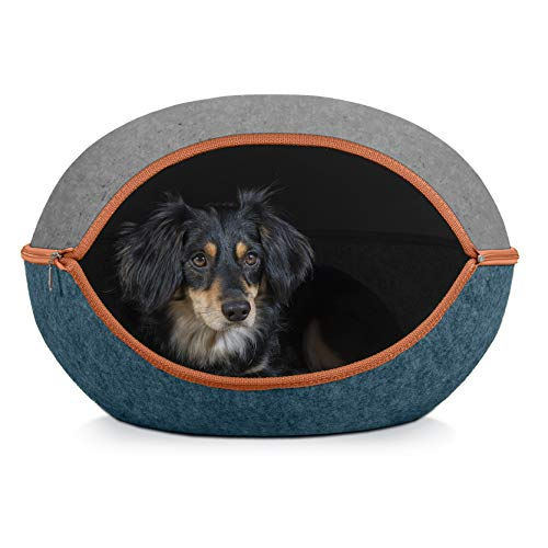 Furhaven Pet Cat Bed Furniture - Two-Color Round Felt Pet House Private Den Hideout Pet Bed for Cats and Small Dogs, Heather Gray/Lagoon Blue, One Size