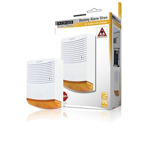 Sirena d'allarme finta Konig dall'aspetto professionale con LED, Protezione IP44, Vano Pile e Spazio interno.