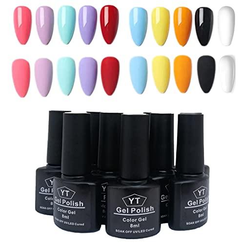 Esmalte Semi-permanente para Uñas kit,10 Colors Gel Nail Polish Set 8ml Juego de Gel de Esmalte de Uñas