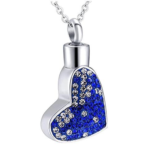 Wxcvz Colgante Conmemorativo Colgante De Cremación Urna, Collar Conmemorativo, Colgante para Cenizas, Joyería De Recuerdo Funerario, Corazón Azul De Cristal