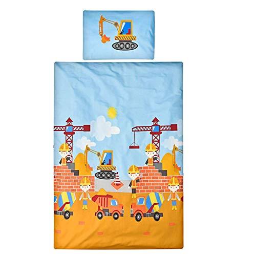 Aminata kids Bunte Bagger Bettwäsche 100x135 cm + 40 x 60 cm aus Baumwolle mit Reißverschluss, hell-blau, unsere Kinder-Wende-Bettwäsche-Set mit Baustelle, Bagger-Motiv ist weich und kuschelig, Kran