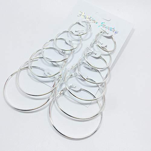 Binghotfire 6 Pairs/Set Big Circle Hoop Earrings Women Party Fashion Jewelry Ear Clip Silver