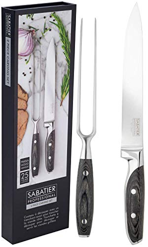 Sabatier Professional Fork & Carving Knife Set - 2pc Sharpe, Full Tang...