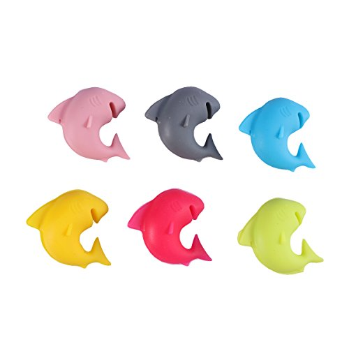 Bestonzon Glasmarkierer aus Silikon für Weingläser Hai 6 Stück