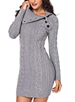 Malaven Women Winter Fall Cable Knit Asymmetric Buttoned Collar Stretchable Long Sleeve Bodycon Sweater Dress Biscay L 12 14 by