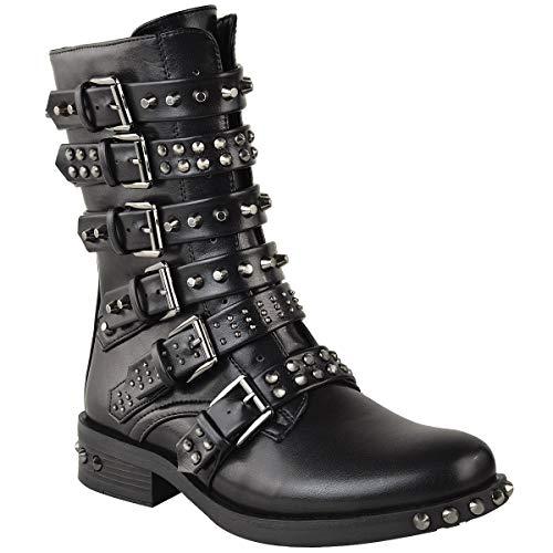 Fashion Thirsty Damen Ankle Boots im Biker-Stil - mit Nieten, Riemen & Schnallen - flach - Schwarz Kunstleder - EUR 41