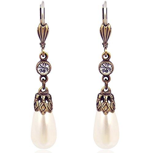 Vintage Perlen-Ohrringe mit Kristallen von Swarovski® Gold Creme NOBEL SCHMUCK