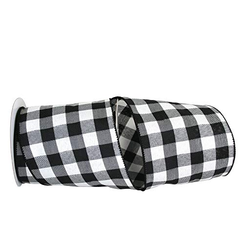 Reliant Ribbon Celine Plaid Twill Wired Edge Ribbon, 4 Inch X 10 Yards, Black/white