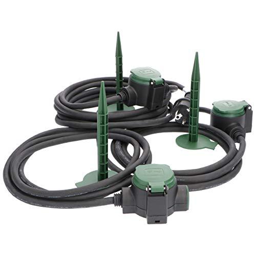 Garten-Verlängerungskabel IP44 10m mit 3 Steckdosen alle 2,5 m inkl. 3x Erdspieß ideal als Stromversorgung der Gartenbeleuchtung