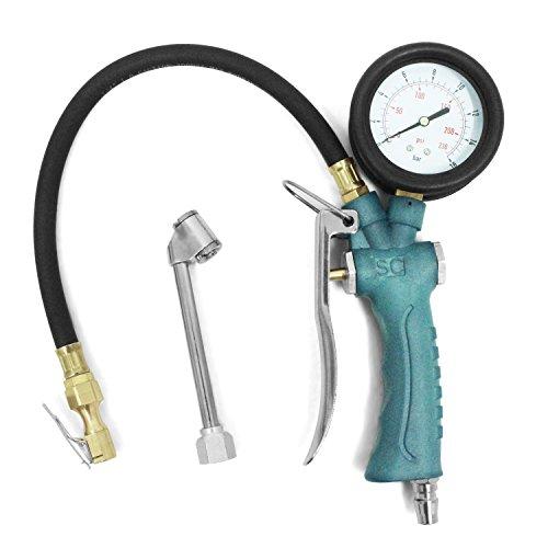 Hochwertig Druckluft Reifenfüller Luftdruckprüfer Reifendruckmesser, mit 360°drehbarem Manometer(0-16 Bar), Multifunktion