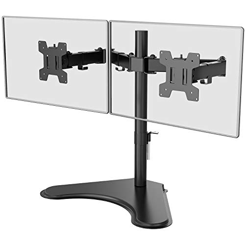 WALI Free Standing Dual LCD Monitor Fully Adjustable Desk Mount Fits Two Screens up to 27 inch, 17.6...