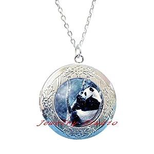 Charming fashion Locket Necklace?Panda Bear Pictures Glass Cabochon Locket Pendant Ball Chain Locket Necklace Jewelry Gifts?Animal Charm Locket Necklace?Bear Jewelry-HZ00220