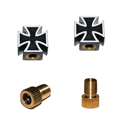 KUSTOM66 2er Set Ventilkappen und 2 Fahrrad Adapter - Schwarzes Kreuz - Iron Cross - für jedes Fahrrad geeignet