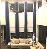 Ikiriska Extra Long Sheer Voile Curtains (2 Panels) for high Ceiling, Custom Made Length 12, 14, 15, 16, 17, 18, 20 24 feet Long, Wide Drapes for 2 Story Living Room (Navy Blue)