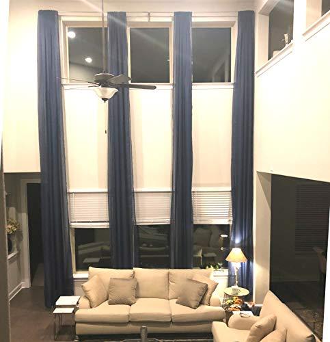 Ikiriska Extra Long Sheer Voile Curtains (2 Panels) for high Ceiling, Custom Made Length 12, 14, 15, 16, 17, 18, 20 24 feet Long, Wide Drapes for 2 Story Living Room (Navy Blue)