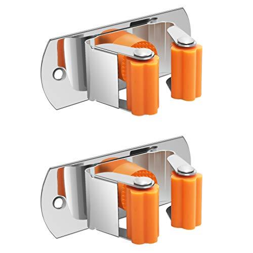 Jfbrix 2 Stück Edelstahl Wischmopphalter Besen Aufhänger Wandhalterung mit Schrauben und ohne Schrauben