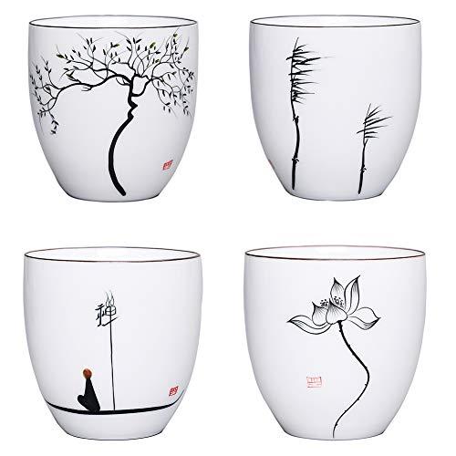 ACYOUNG Taza de té de cerámica china hecha a mano, 4 tazas de té de 150 ml