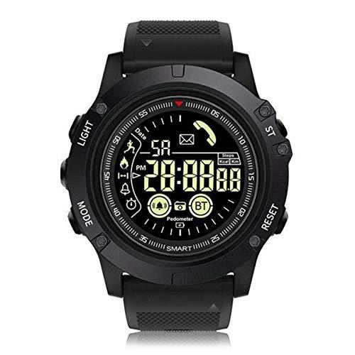 DERCLIVE Deportes Al Aire Libre Impermeable Bluetooth 4.0 Reloj Inteligente de Larga Espera Reloj Táctico Militar Podómetro Negro