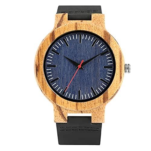 Reloj de Pulsera de Madera con Rayas Naturales para Hombre, Reloj de Madera de bambú Simple con Banda de Cuero, Reloj Unisex para Mujer, Regalos de Hora para Navidad, Reloj de Madera