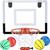 Indoor Mini Basketball Hoop for Kids and Adult 16 X 12 Inch Board Family Games for Home and Office Door Wall Mount Includes 4 Basketballs and Hand Pump with 1 Inflation Needle