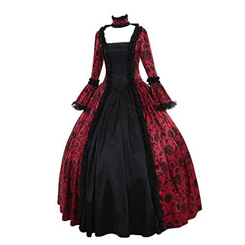 Kaiyei Damen Mittelalter Kleid Langarm Trompetenärmel Vintage Kleider Maxi Fasching Prinzessin...