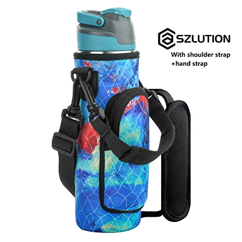 Case Star Flask Water Bottle Bag Pouch for 20-26 Ounce Water Bottle Flask Carrier Holder with Flask Water Bottle Handle and Adjustable Shoulder Strap (Water Colors)