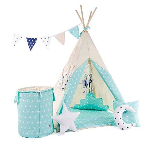 Indianerzelt Tipi Set für Kinder Spielzeug drinnen draußen Spielzelt Zelt mit Korb Tipi-Set Indianer Indianertipi (Tipi mit 8 Elementen, Mint - der leuchtende Stern)